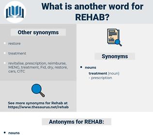REHAB, synonym REHAB, another word for REHAB, words like REHAB, thesaurus REHAB