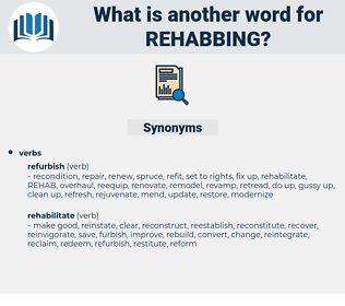 rehabbing, synonym rehabbing, another word for rehabbing, words like rehabbing, thesaurus rehabbing
