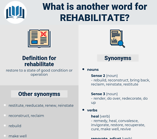 rehabilitate, synonym rehabilitate, another word for rehabilitate, words like rehabilitate, thesaurus rehabilitate