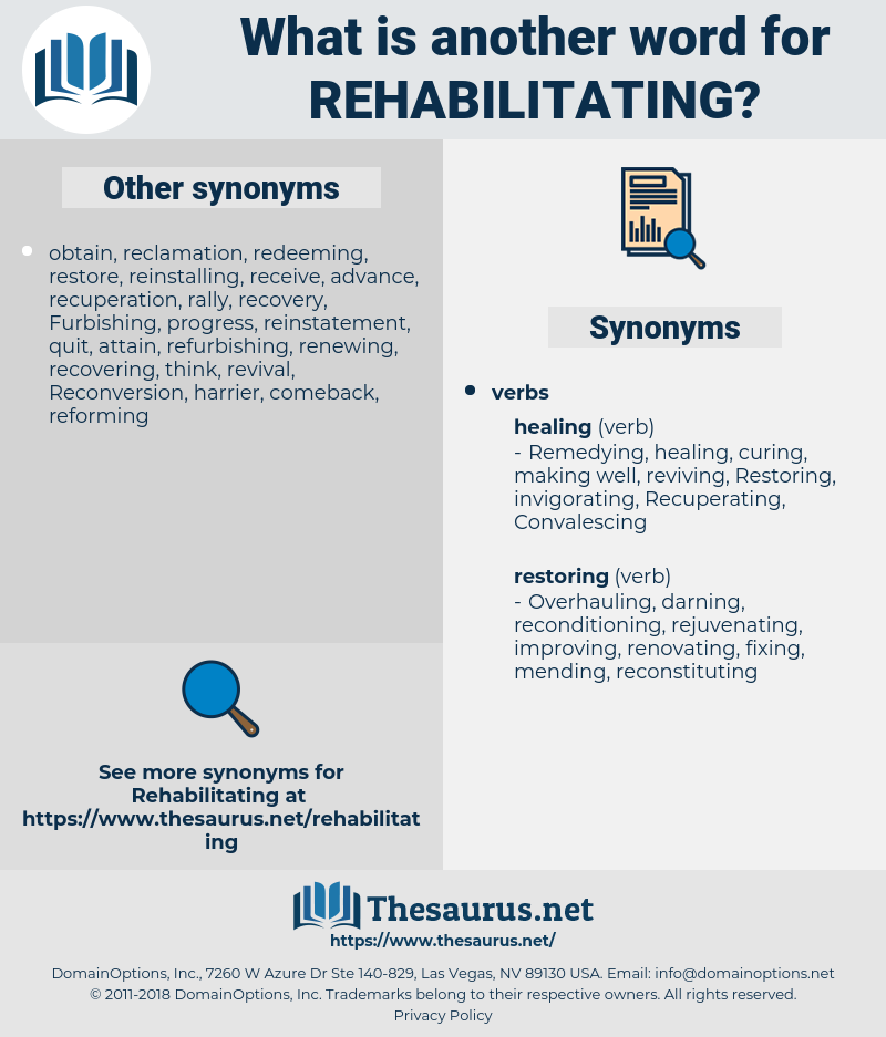 Rehabilitating, synonym Rehabilitating, another word for Rehabilitating, words like Rehabilitating, thesaurus Rehabilitating