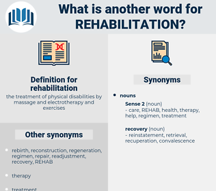 rehabilitation, synonym rehabilitation, another word for rehabilitation, words like rehabilitation, thesaurus rehabilitation