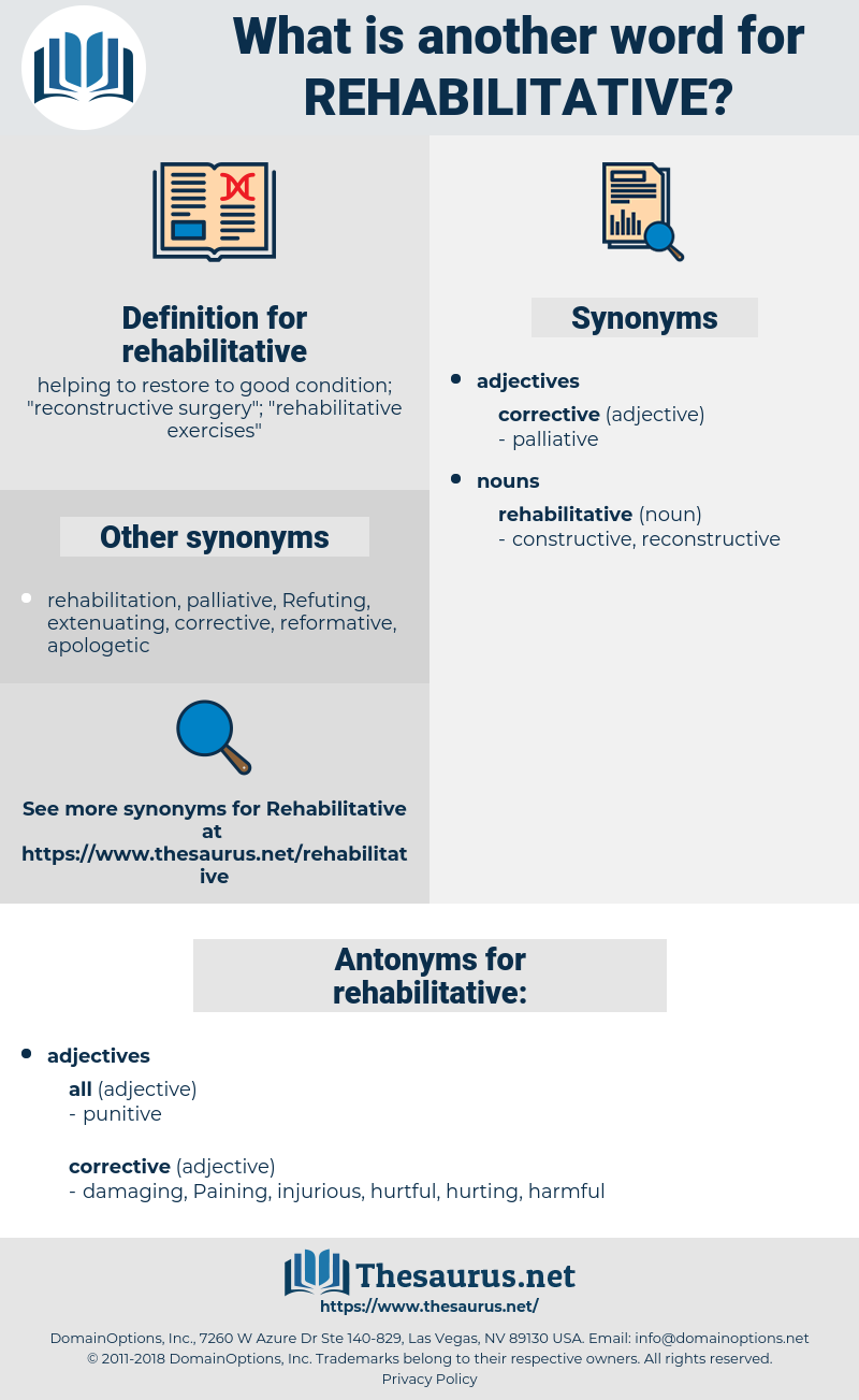 rehabilitative, synonym rehabilitative, another word for rehabilitative, words like rehabilitative, thesaurus rehabilitative