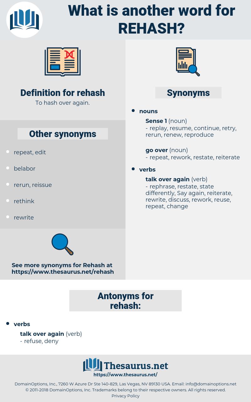 rehash, synonym rehash, another word for rehash, words like rehash, thesaurus rehash