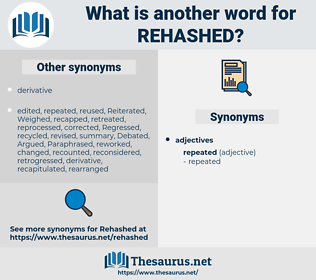 rehashed, synonym rehashed, another word for rehashed, words like rehashed, thesaurus rehashed