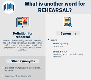 rehearsal, synonym rehearsal, another word for rehearsal, words like rehearsal, thesaurus rehearsal