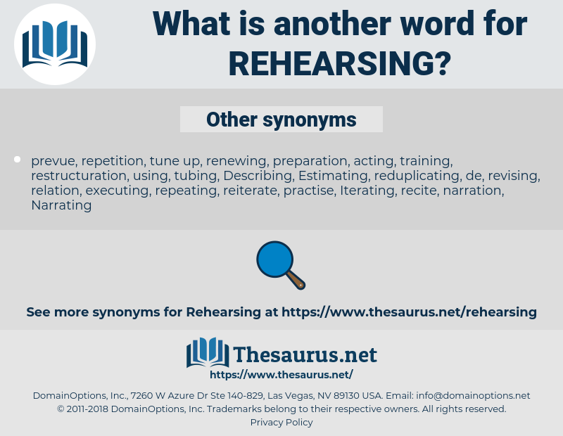 Rehearsing, synonym Rehearsing, another word for Rehearsing, words like Rehearsing, thesaurus Rehearsing