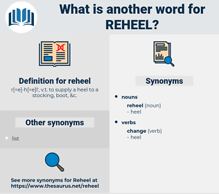 reheel, synonym reheel, another word for reheel, words like reheel, thesaurus reheel