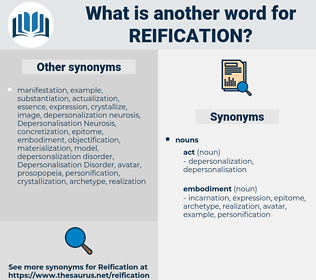 reification, synonym reification, another word for reification, words like reification, thesaurus reification