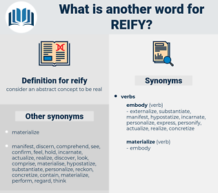 reify, synonym reify, another word for reify, words like reify, thesaurus reify