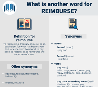 reimburse, synonym reimburse, another word for reimburse, words like reimburse, thesaurus reimburse