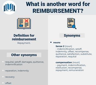 reimbursement, synonym reimbursement, another word for reimbursement, words like reimbursement, thesaurus reimbursement