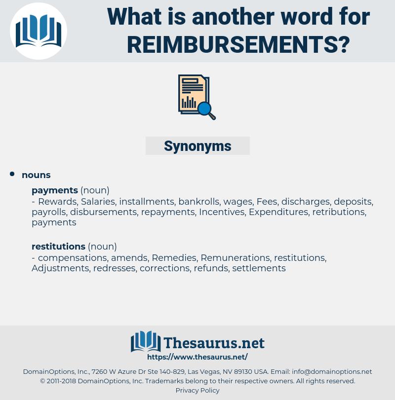 reimbursements, synonym reimbursements, another word for reimbursements, words like reimbursements, thesaurus reimbursements