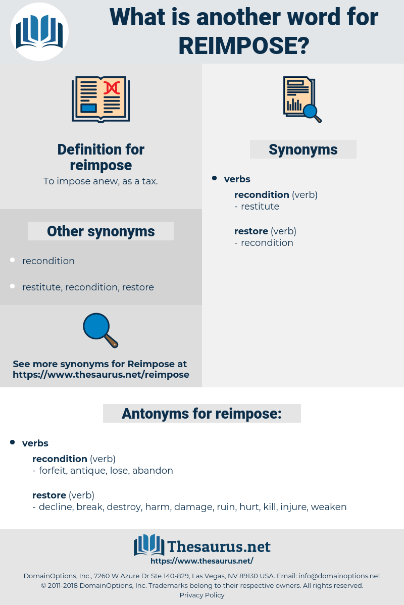 reimpose, synonym reimpose, another word for reimpose, words like reimpose, thesaurus reimpose