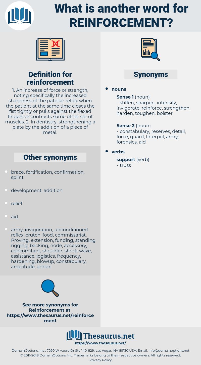reinforcement, synonym reinforcement, another word for reinforcement, words like reinforcement, thesaurus reinforcement