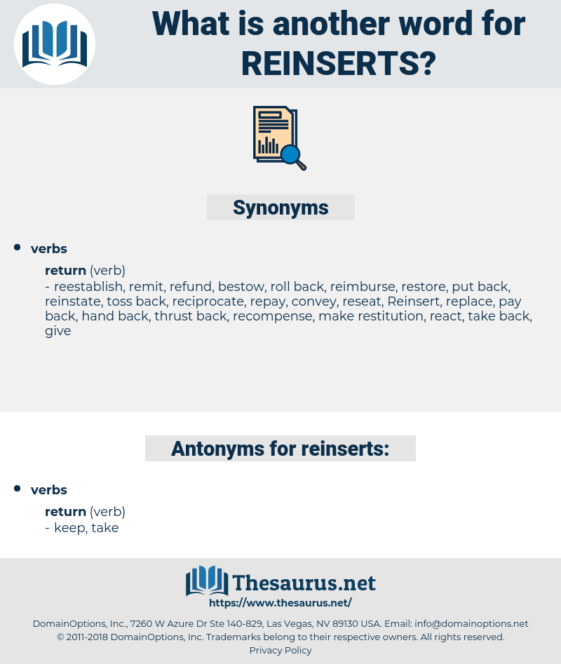 reinserts, synonym reinserts, another word for reinserts, words like reinserts, thesaurus reinserts
