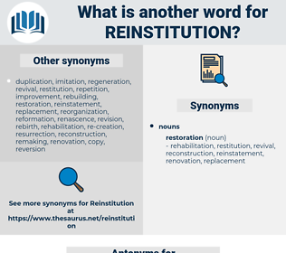reinstitution, synonym reinstitution, another word for reinstitution, words like reinstitution, thesaurus reinstitution