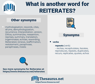 reiterates, synonym reiterates, another word for reiterates, words like reiterates, thesaurus reiterates
