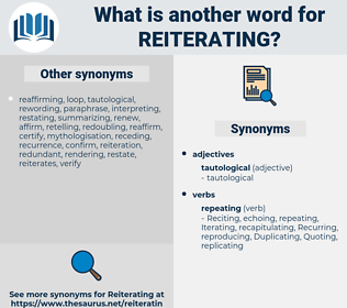 Reiterating, synonym Reiterating, another word for Reiterating, words like Reiterating, thesaurus Reiterating