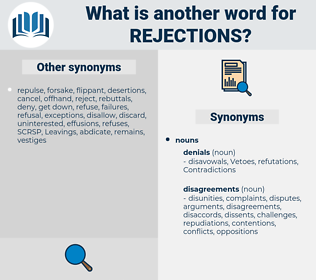 Rejections, synonym Rejections, another word for Rejections, words like Rejections, thesaurus Rejections