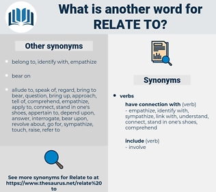 relate to, synonym relate to, another word for relate to, words like relate to, thesaurus relate to