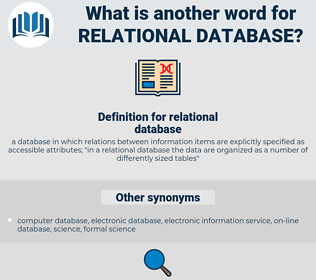 relational database, synonym relational database, another word for relational database, words like relational database, thesaurus relational database