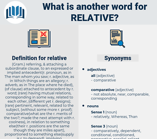 relative, synonym relative, another word for relative, words like relative, thesaurus relative