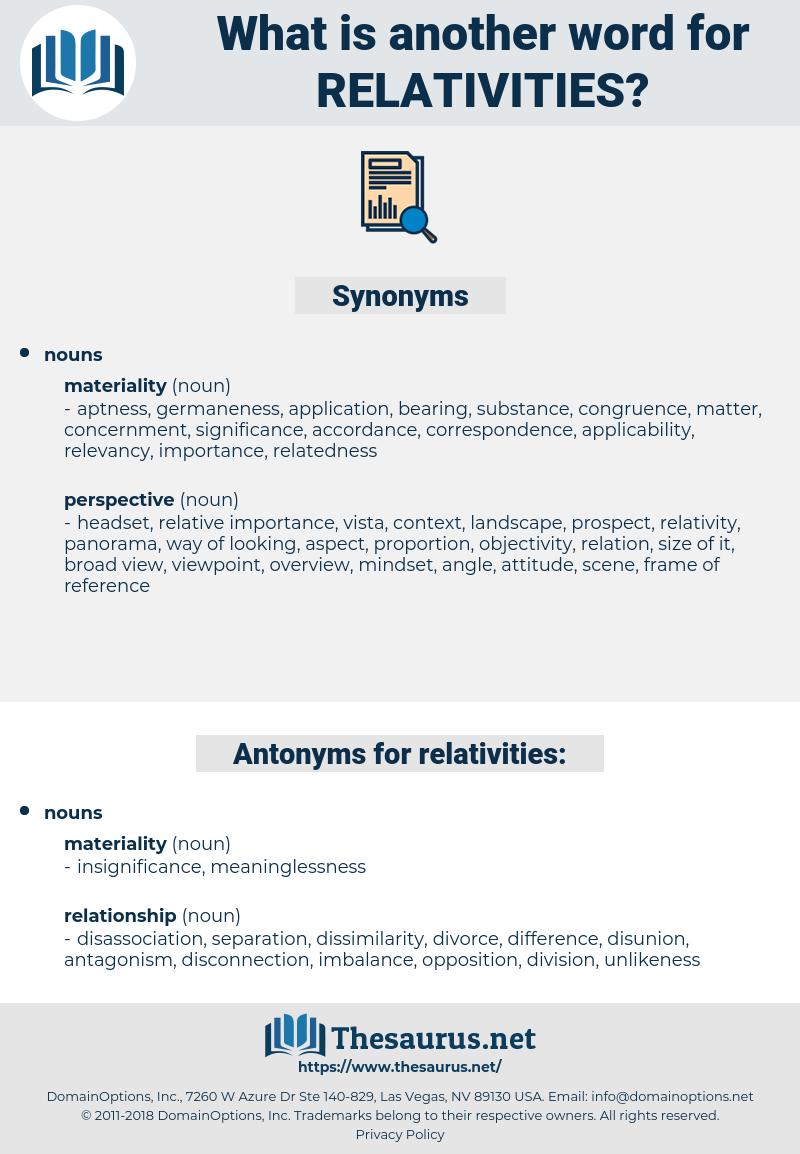 relativities, synonym relativities, another word for relativities, words like relativities, thesaurus relativities
