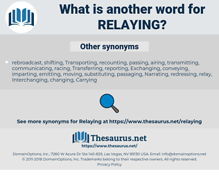 Relaying, synonym Relaying, another word for Relaying, words like Relaying, thesaurus Relaying