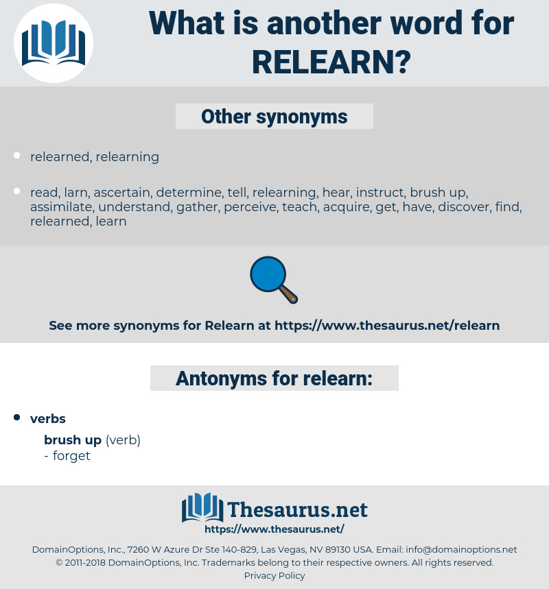 relearn, synonym relearn, another word for relearn, words like relearn, thesaurus relearn