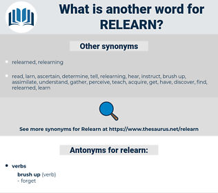 relearn, synonym relearn, another word for relearn, words like relearn, thesaurus relearn