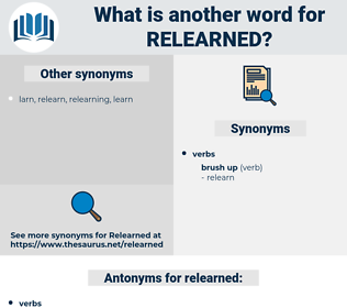 relearned, synonym relearned, another word for relearned, words like relearned, thesaurus relearned