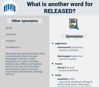 released, synonym released, another word for released, words like released, thesaurus released