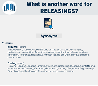releasings, synonym releasings, another word for releasings, words like releasings, thesaurus releasings