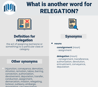relegation, synonym relegation, another word for relegation, words like relegation, thesaurus relegation