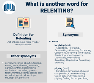 Relenting, synonym Relenting, another word for Relenting, words like Relenting, thesaurus Relenting