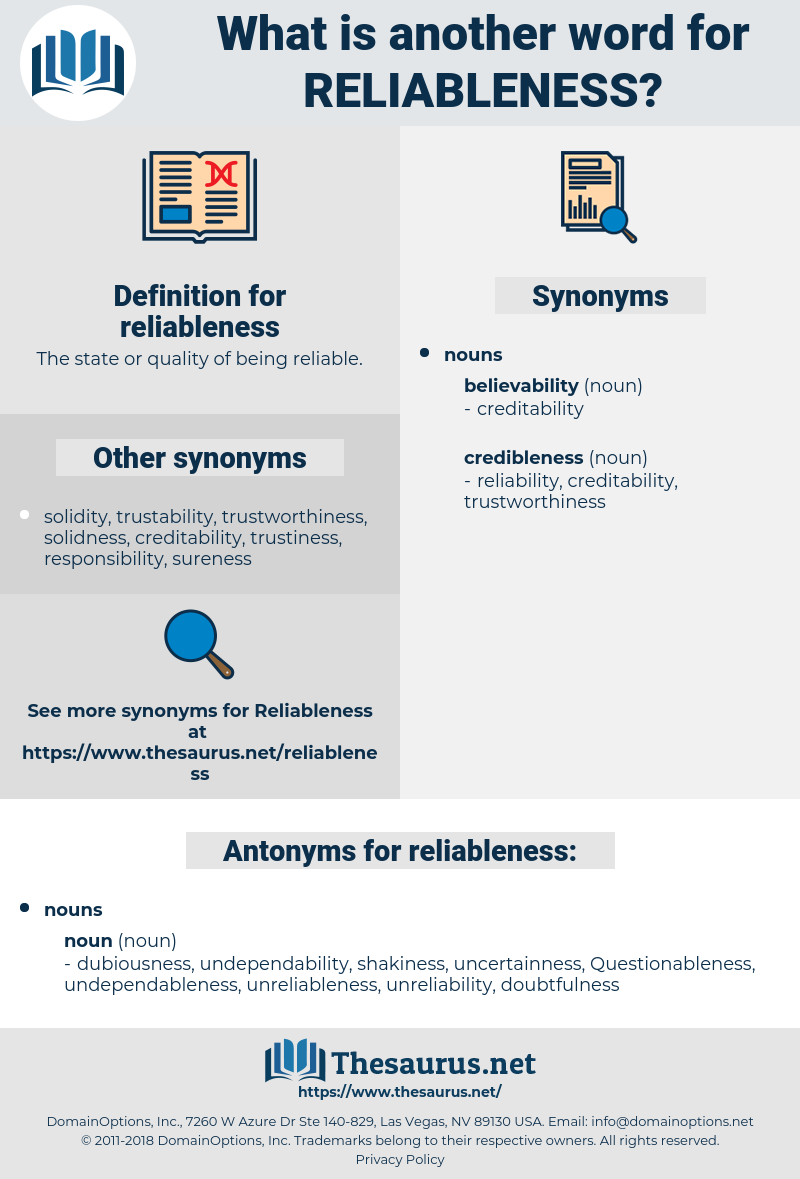 reliableness, synonym reliableness, another word for reliableness, words like reliableness, thesaurus reliableness