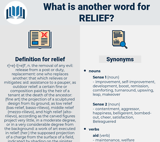 relief, synonym relief, another word for relief, words like relief, thesaurus relief