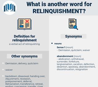 relinquishment, synonym relinquishment, another word for relinquishment, words like relinquishment, thesaurus relinquishment