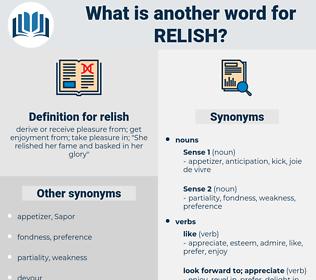 relish, synonym relish, another word for relish, words like relish, thesaurus relish