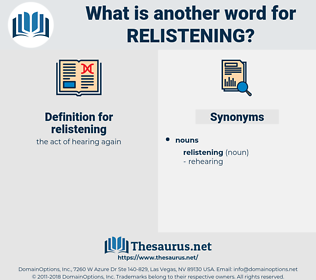 relistening, synonym relistening, another word for relistening, words like relistening, thesaurus relistening