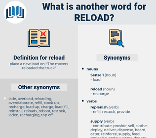 reload, synonym reload, another word for reload, words like reload, thesaurus reload