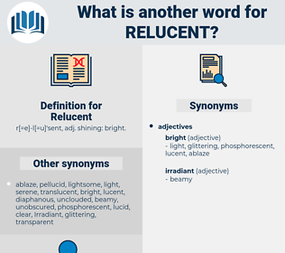 Relucent, synonym Relucent, another word for Relucent, words like Relucent, thesaurus Relucent