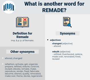 Remade, synonym Remade, another word for Remade, words like Remade, thesaurus Remade