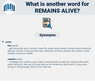 remains alive, synonym remains alive, another word for remains alive, words like remains alive, thesaurus remains alive