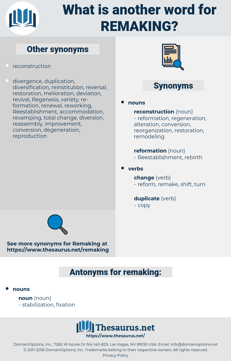 remaking, synonym remaking, another word for remaking, words like remaking, thesaurus remaking