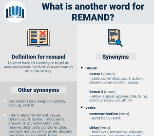 remand, synonym remand, another word for remand, words like remand, thesaurus remand
