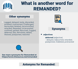 Remanded, synonym Remanded, another word for Remanded, words like Remanded, thesaurus Remanded