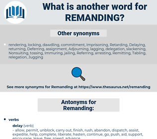 Remanding, synonym Remanding, another word for Remanding, words like Remanding, thesaurus Remanding