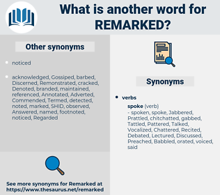 Remarked, synonym Remarked, another word for Remarked, words like Remarked, thesaurus Remarked