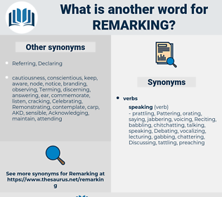 Remarking, synonym Remarking, another word for Remarking, words like Remarking, thesaurus Remarking